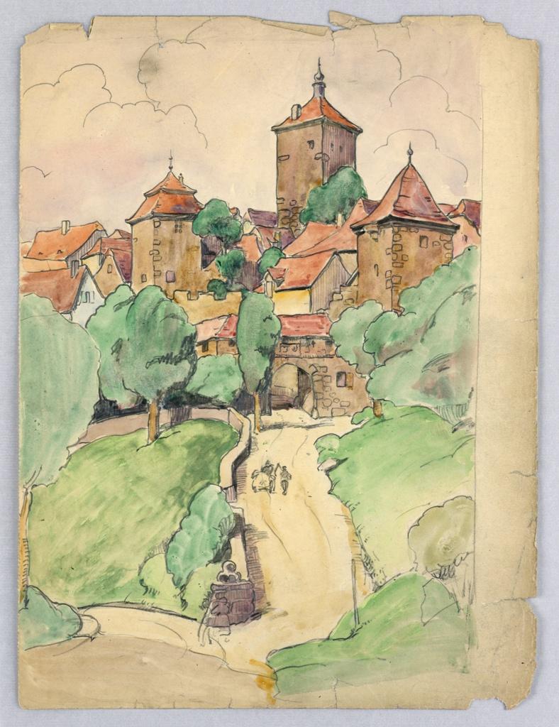 Drawing, Walled Medieval Village