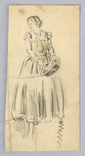 Standing woman facing viewer, but turning head toward right at left of page, smiling. In left hand she holds bowl, beating eggs with her right. She wears a long dress with long sleeves.