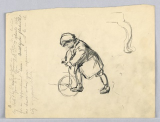 Figure, dressed in coat, cap, and short trousers, in left profile, leans forward while pushing wagon, wagon is only partially shown. Upper right, cabriolet leg of a table. Left, perpendicular to sketch is draft of a letter requesting appointment with published of illustrations.