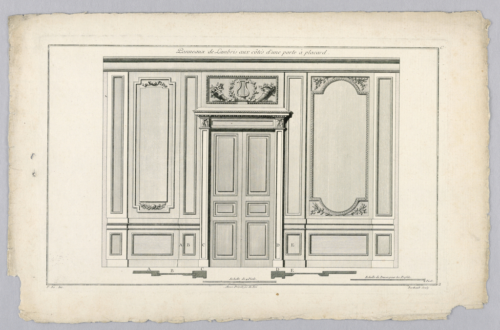 Print, Wall Interior with Door, 18th century