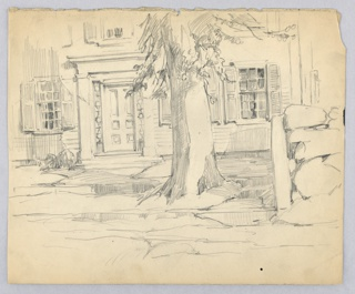 Tree trunk at right center, part of foliage seen at top. Behind tree is facade of house with two open-latticed windows and large, corniced front door.