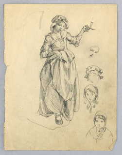 Small girl with expression of surprise holds her long skirt in right hand with right foot steeping forward. In left hand, she holds a candle high. At right, four different sketches of young girl's faces with surprised expression. All figures are wearing hats.