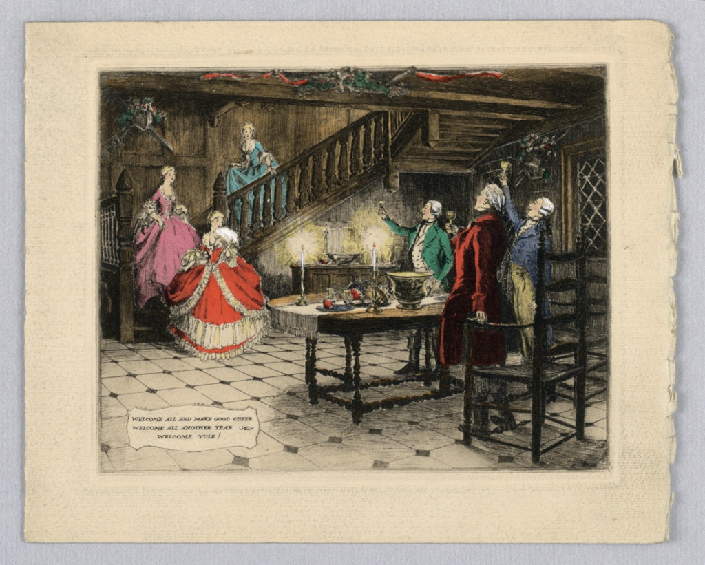 Left background, three women descend a stair case, first figure holds fan in right hand in front of face. Right, three men hold wine glasses and raise it to women, facing left. Center is table with candles, food and vase. Inscription center left. Depicts old England. Inscription lower left.