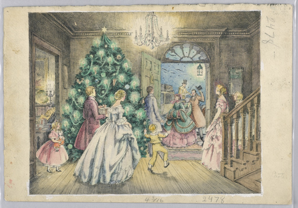 Hall of house with Christmas tree in left corner, stairway at right; members of family face open door at right background, greetings arriving guests. Scene of old England, 19th century settings.