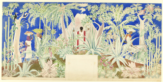 Horizontal format mural design for an interior fireplace wall, the section for the fireplace left blank at lower center. Tropical landscape scene with many varieties of plants, flowers, and foliage including maguey, coconut and banana palms, and saguaro cactus. At upper left, a toucan bird perches in a tree. At left, two female figures carry fruits on their heads. At center, a man viewed from behind facing a smoking volcano holds a rifle in his left hand and a sombrero in his right. At right, a man viewed in profile rides a burro. Two monkeys are visible on top of the palms at center; two pink birds in flight at upper right.