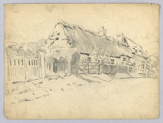 Cottage with thatched roof, one story and half hidden behind hedge and gates, fronted by road receding from left foreground to right background.