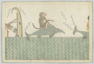 Monkey seated on a dolphin over water, center. Both in right profile. Tail of dolphin, right; upset boat, left.