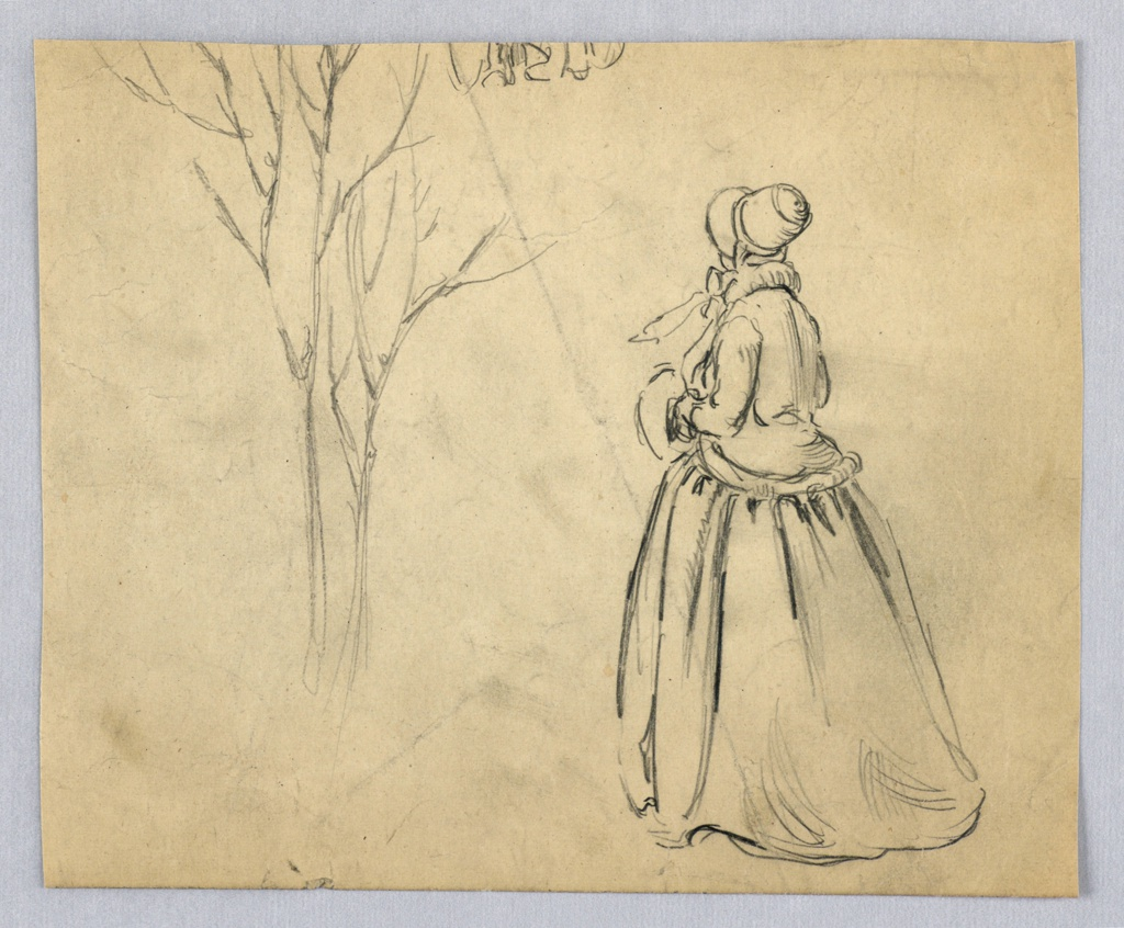 Female figure in long skirt and bonnet, seen from back, holds muff in bent right and left arms, and looks backward toward center; at left center of page is sketch of bare tree.