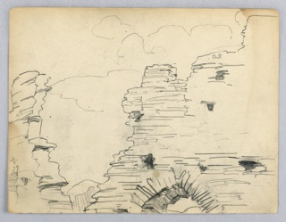 Sketch of stone ruins with arch at right center.