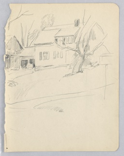 House in center background, barn to left. Outline of tree in center foreground.