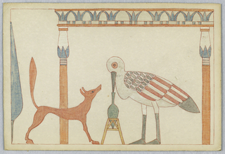 Stork facing left in profile, its beak in a vase, center. Fox at left, in right profile. Two columns in Egyptian style.