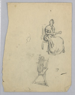 At upper right woman in long dress is seated on chair. She is facing right side of page, but her head is turned right, toward center of page. At lower right is spinning wheel; left center sketch of face, seemingly unrelated.