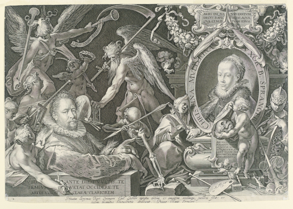 Print, Portrait of Bartholomeus Spranger with an Allegory on the Death of his Wife, Christina Muller