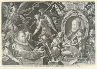 Print, Portrait of Bartholomeus Spranger with an Allegory on the Death of his Wife, Christina Muller, 1600