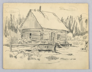 Cabin built of logs in a clearing, surrounded by woods. Split-log fence in left foreground.