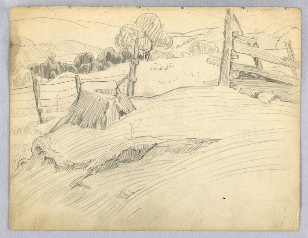 Scene of fields,- barbed wire fence, at left, and wooden fence, at right, divides page at center; through opening between fences and behind are seen fields, woods and hills.