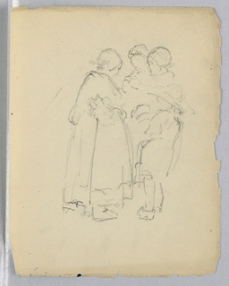 Three women, full-length, in peasant dress engaged in conversation.