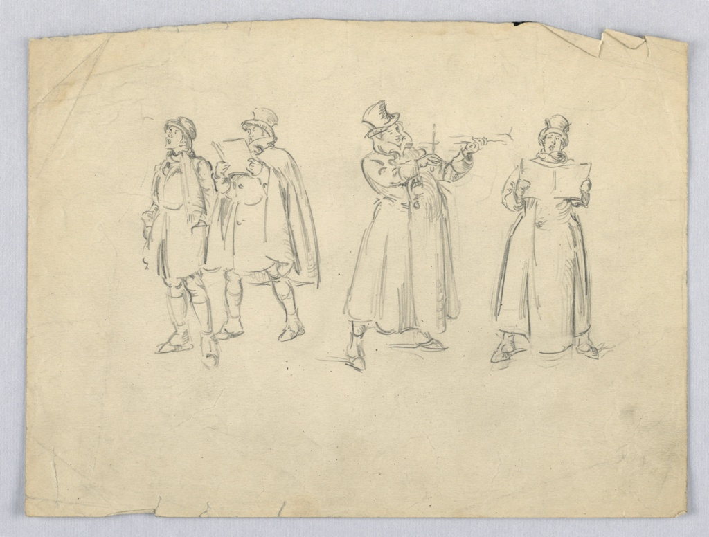 Four figures in overcoats and top hats making music in varying positions: two figures at left sing facing left, one holds songbook, third figure from left plays a violin, with legs spread. Figure at right faces viewer, singing from open book.