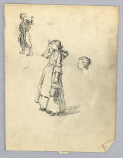 In center, young girl in long dress facing left and holding bucket in left hand. Right arm raised to hair/ Upper left, boy, three-quarter position to left, waving left arm. Right center, head of young girl in profile.