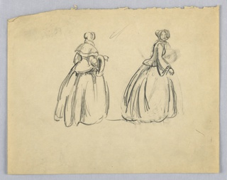 Two figures of a woman in long dress and bonnet; figure at left seen from back; figure at right seen in profile, face turned right toward viewer.