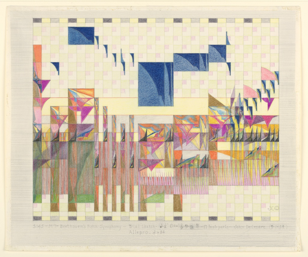 Drawing, Study 145, Beethoven's Fifth Symphony, April 1, 1959