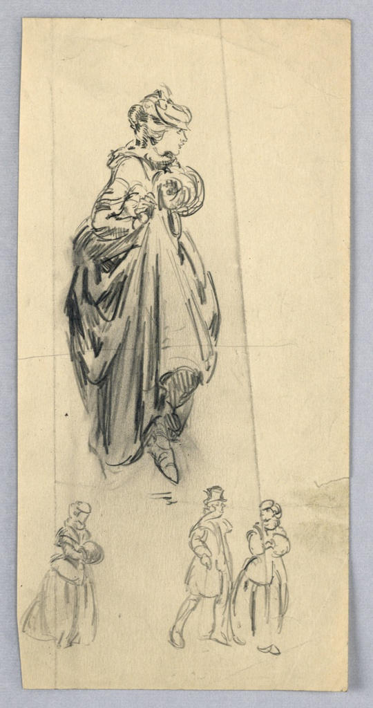 Center figure, woman in long skirts and hat, holds skirts up with right hand over foot stepping forward. She is looking toward right, holding muff in left hand. At bottom are three smaller figures; left woman with muff; right, woman with muff and man in coat and top hat.