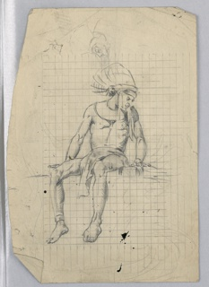 "Illustrations for Elise Spicer Eells, ""Tales from the Amazon. Figure in Indian headdress and loin cloth seated on wall, legs dangling, head to right, arms apart, hands resting on wall. The whole figure marked off in measured grid."