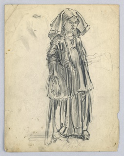 Full-length figure of girl in long, full dress and kerchief headdress of an unidentified region in Europe.