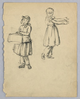 Two sketches on one page. Left, little girl in traveling suit with hat, facing viewer, and holding hat box with her left hand. Upper right, little girl in dress and bloomers, shown in profile, stretching both arms toward right.
