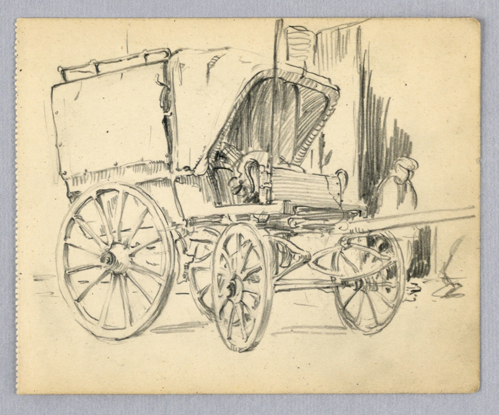 Side view of wagon with covered top and canopy over driver's seat. Sketch of man in background.