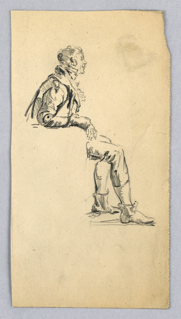 Seated man n profile view, facing right. Chair on which figure sits is undrawn, indicated only by upper portion of figure leaning slightly forward at top and legs of figure, bent at knees, at right of seat.