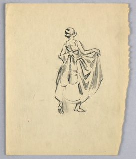 Figure is at right center of page, stepping toward right background with left foot behind, figure is barefoot. She wears a long skirt with large bow at the back of her waist, she is holding up skirt with her hands, arms are bent at the elbow. She is wearing a hat, head is turned slightly left.