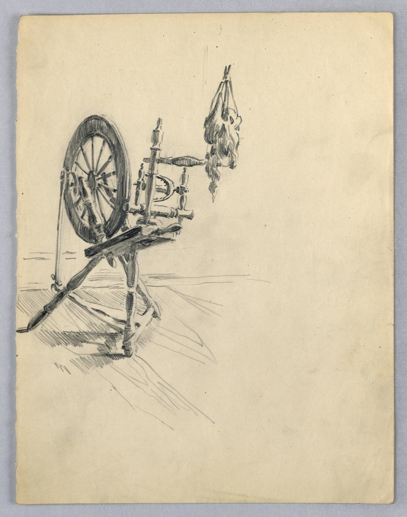 Three-quarter view of spinning wheel with yarn attached to spindle, center left of page.