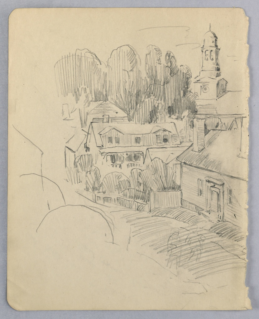 Village road extends from right foreground toward left background. A church is partially seen at right, other building at center, and trees in the back. Left side of page only sketched, lightly. Two small figures are sketched on road.