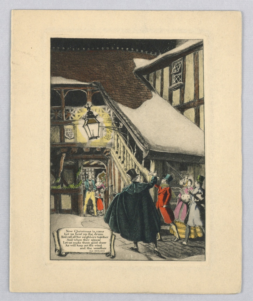 Lower right, group of carolers, one plays trumpet, violin. Center background, family in doorway watches carolers.  Staircase descends from left background to left bottom. Inscription lower left.