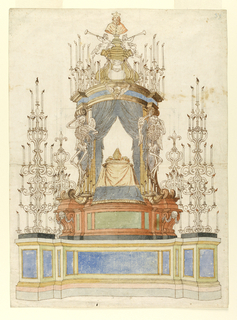 A baldachin mounted on a raised platform between two large candelabra, ornamented with fleur-de-lis, holding lit candles.