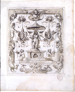 In the center is a high pedestal with the figure of a standing woman, with a canopy above her. On the steps of the pedestal sit two children holding bowls, into which satyrs, standing upon consoles of the framing woodwork urinate. The woodwork is supported by a central motif with two half-figures of dolphins and two turkeys at the corner.
