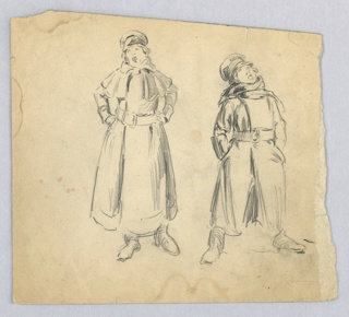 Two figures in overcoat and hat, singing. Figure at left holds hands on hips, looking toward left. Figure at right stands with legs apart, hands in pockets, looking upward toward right. Both figures wear long winter coat with scarf and hat,