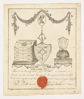 An escutcheon relating to cabinet-making in center, flanked by desk and chair. Below, legend with the recipient, John Hewitt; Secretary W. Philip; Chairman Edward Barkhouse and date written with pen and brown ink. Red wax seal on bottom.