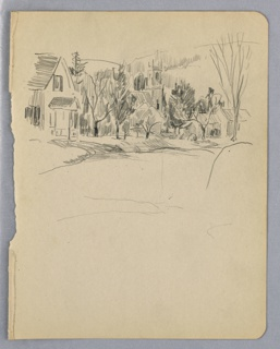 Confined to upper left of sheet; scene shows a village church and house surrounded by trees. House and road in left foreground. Hills in background.
