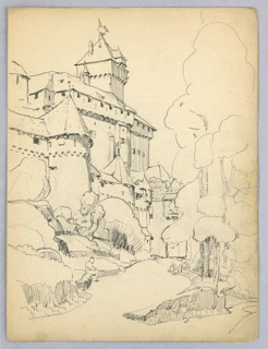 Road and trees in foreground. Castle rises in left background, as on a hillside. Sketches of trees on the right, road leads to castle. Sketch of man sitting on side of road.