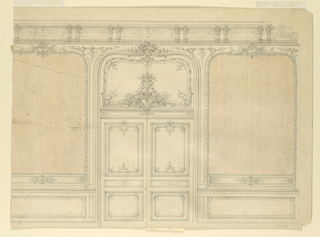 A double door, surmounted by a rocaille overdoor, is flanked by blank panels (probably intended to be covered in fabric) in rocaille frames, in the manner of Nicolas Pineau.  Part of ceiling cove shown.