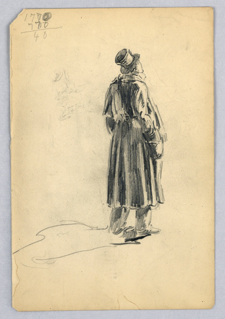 Figure is located at right center, seen from back, looking upwards toward right. Man stands with legs apart, hands in pockets; his shadow is indicated by a line.