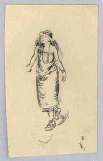 """Illustration for Elsie Spicer Eells, """"Tales from the Amazon"""". Figure, full-length and facing three-quarter left, in walking pose and wearing headband, beads and Indian style dress."""