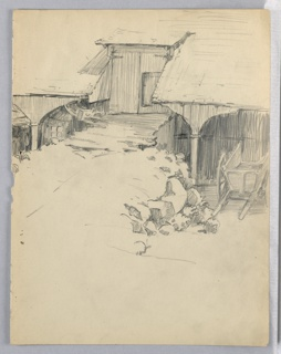 Part of barn with two level; upper with a door leading inside approached by dirt ramp, lower series of arches to either side of ramp forming an arcade. Under one, to right, a farm cart.