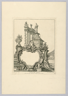 Print, Decorated Cartouche with Classical Architecture