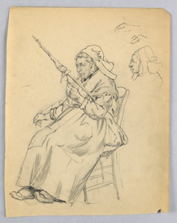 Full-length figure of peasant woman, facing left, sitting in a chair and holding spindle in left hand as she works thread with right hand. Figure dressed in long skirt and cap. At right, separate sketch of head.