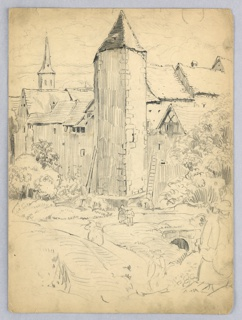 Village, with half-timbered and slate-roofed houses dominated by tower in center. Sketches of figures walking bottom foreground, with sketches of trees in front of houses.