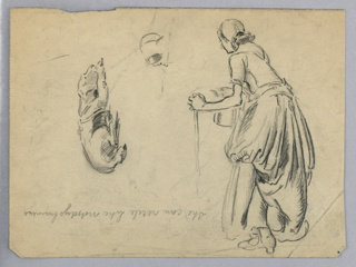 Right of sheet: woman in left profile, standing, holding stick in left hand and pitches in right. Perpendicular to sheet is sketch of sleeping dog. Flipped inscriptions lower center.