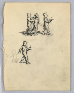 At top center are three children, all in pajamas, walking toward right; the foremost holds candle. At left center, child with candle holds smaller child, barely indicated, by right hand, leading him forward.